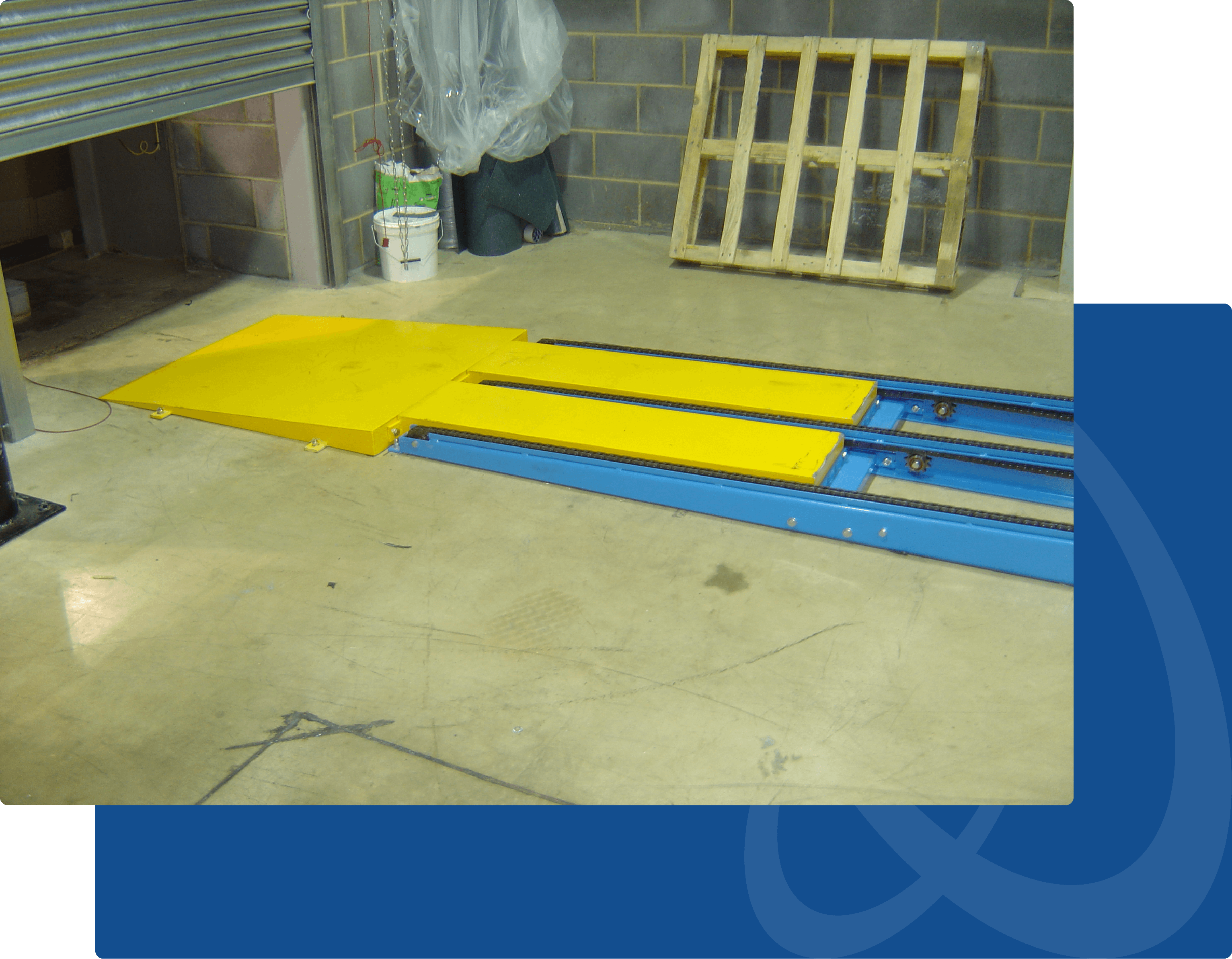 chain conveyor system end ramp